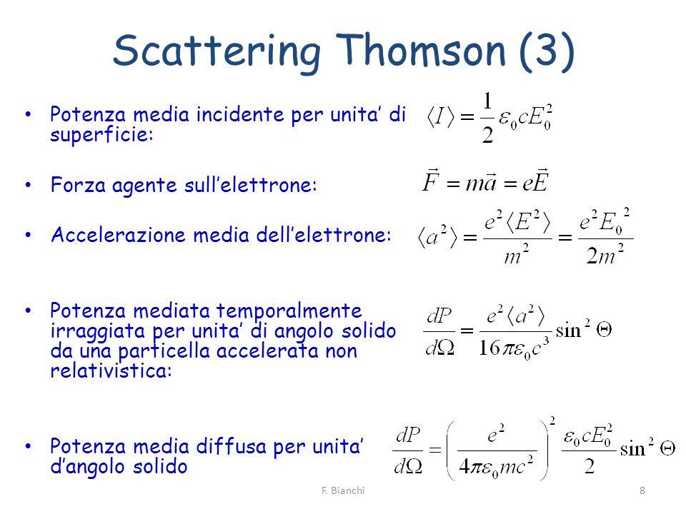 Scattering Thomson (3) Potenza media incidente per unita' di superficie: Forza agente sull'elettrone: