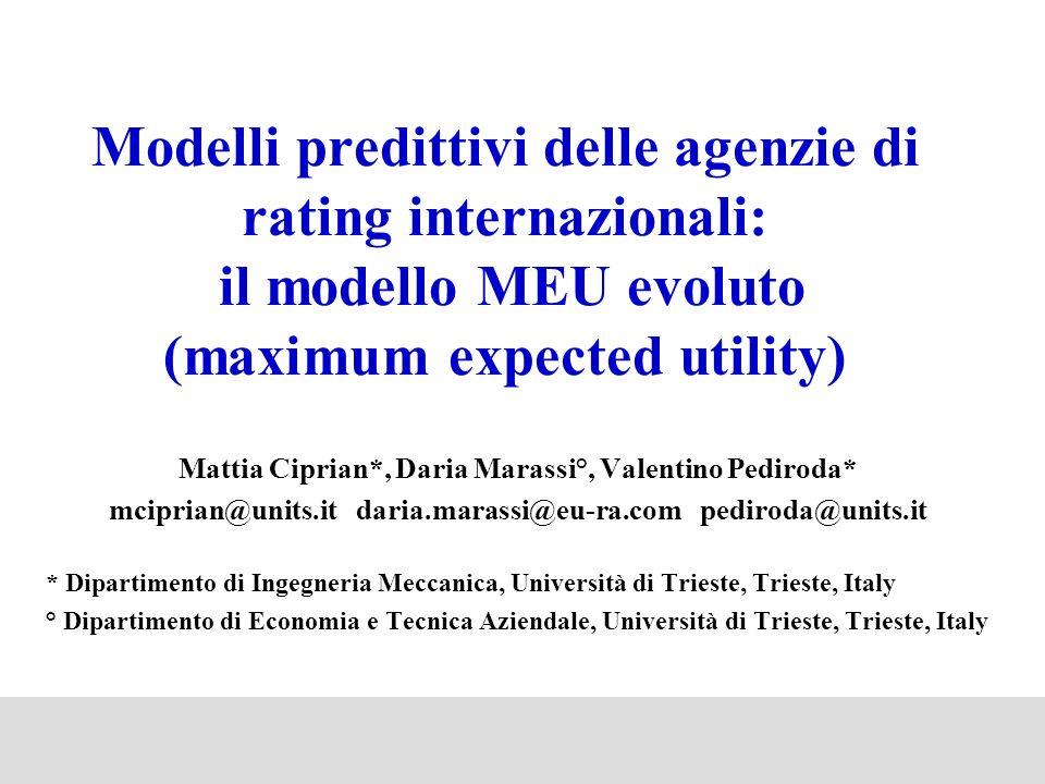 Modelli predittivi delle agenzie di rating internazionali: il modello MEU evoluto (maximum expected utility)