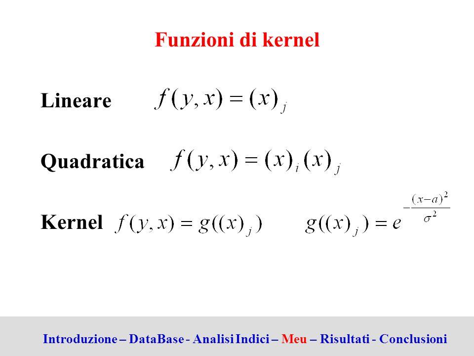 Funzioni di kernel Lineare Quadratica Kernel