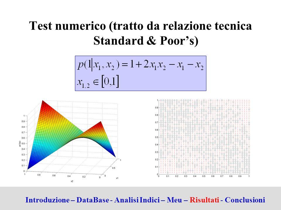 Test numerico (tratto da relazione tecnica Standard & Poor's)