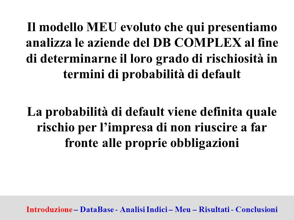 Il modello MEU evoluto che qui presentiamo analizza le aziende del DB COMPLEX al fine di determinarne il loro grado di rischiosità in termini di probabilità di default