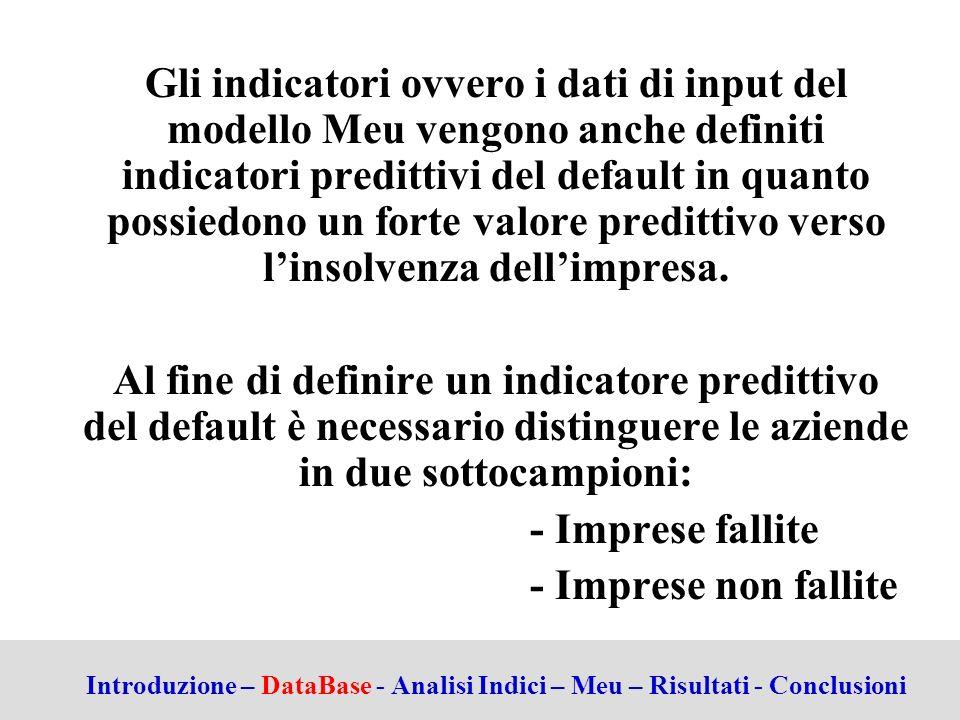 Gli indicatori ovvero i dati di input del modello Meu vengono anche definiti indicatori predittivi del default in quanto possiedono un forte valore predittivo verso l'insolvenza dell'impresa.