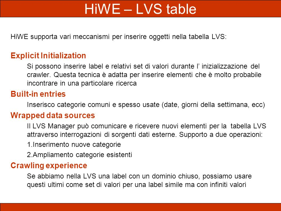 HiWE – LVS table Explicit Initialization Built-in entries
