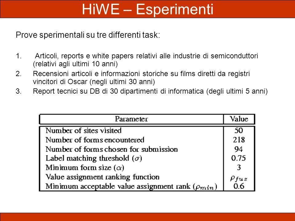 HiWE – Esperimenti Prove sperimentali su tre differenti task: