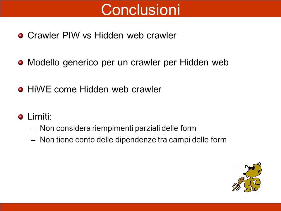 Conclusioni Crawler PIW vs Hidden web crawler