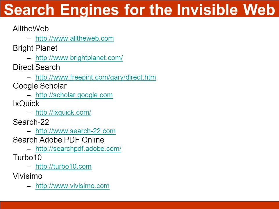 Search Engines for the Invisible Web