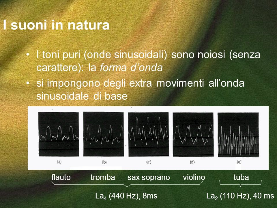 I suoni in natura I toni puri (onde sinusoidali) sono noiosi (senza carattere): la forma d'onda.