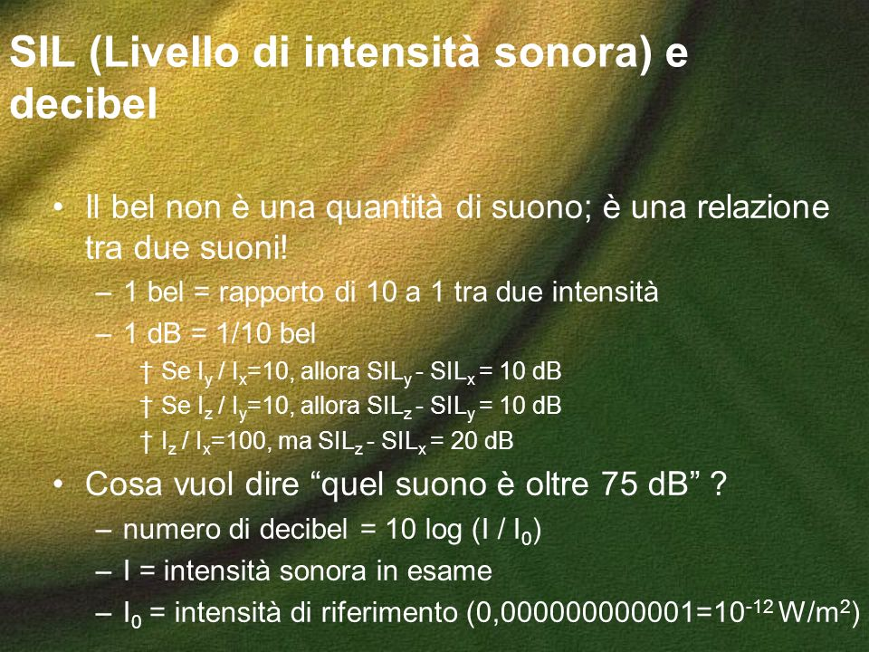 SIL (Livello di intensità sonora) e decibel