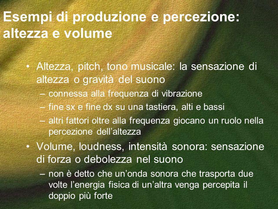 Esempi di produzione e percezione: altezza e volume