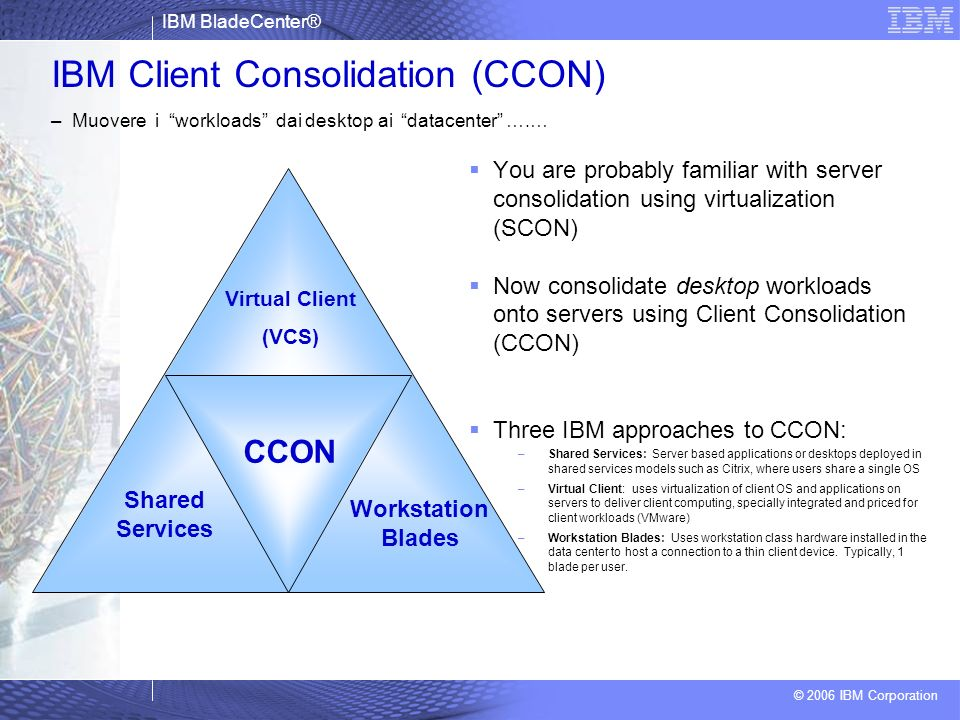 IBM Client Consolidation (CCON) – Muovere i workloads dai desktop ai datacenter ….…
