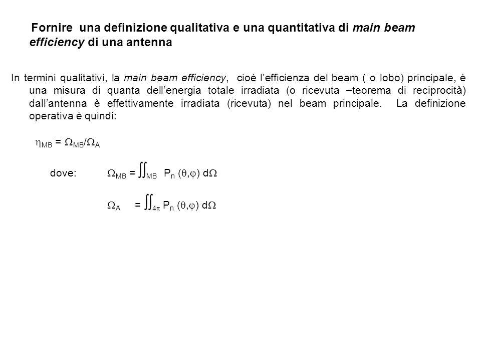 Fornire una definizione qualitativa e una quantitativa di main beam efficiency di una antenna