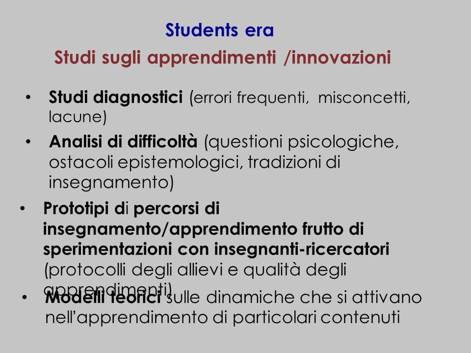 Studi sugli apprendimenti /innovazioni
