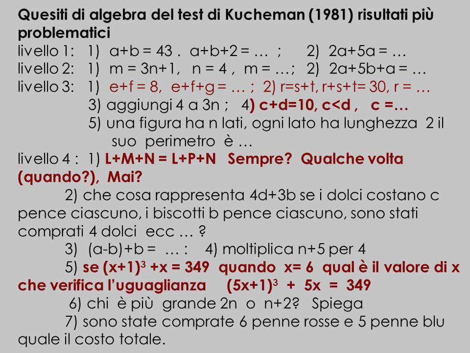 livello 1: 1) a+b = 43 . a+b+2 = … ; 2) 2a+5a = …