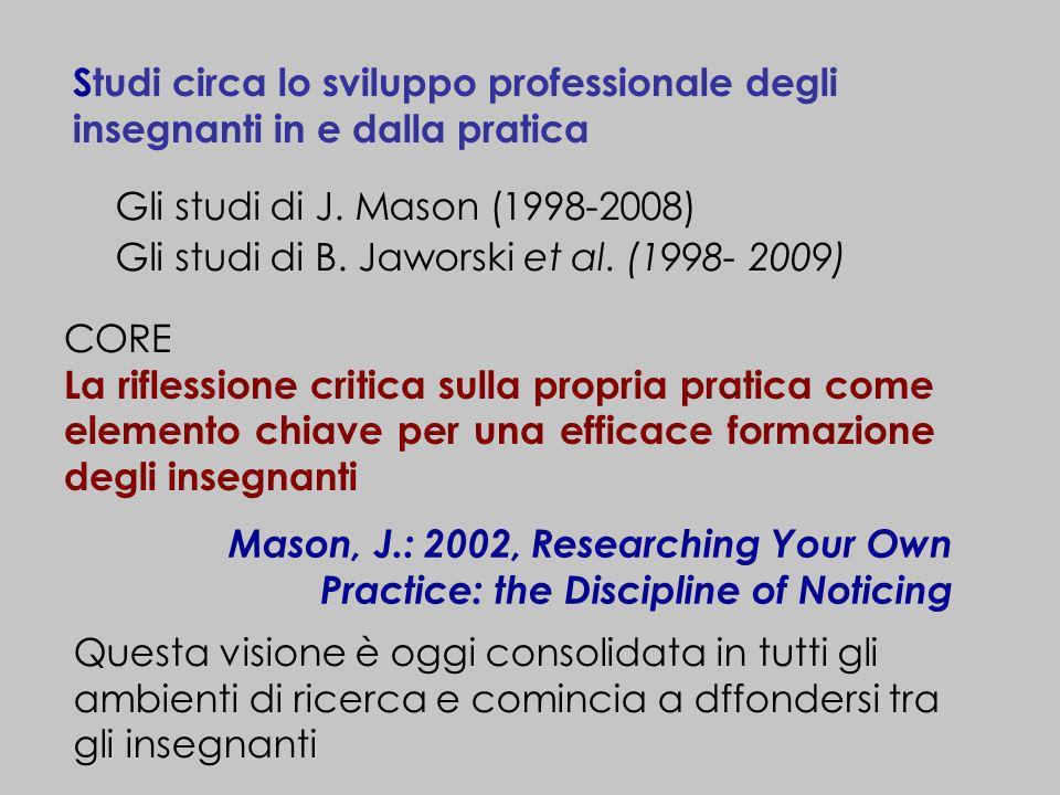 Studi circa lo sviluppo professionale degli insegnanti in e dalla pratica