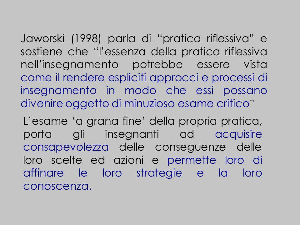 Jaworski (1998) parla di pratica riflessiva e sostiene che l'essenza della pratica riflessiva nell'insegnamento potrebbe essere vista come il rendere espliciti approcci e processi di insegnamento in modo che essi possano divenire oggetto di minuzioso esame critico