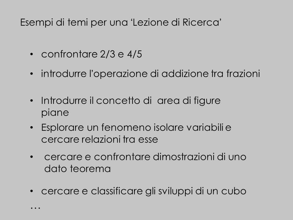 … Esempi di temi per una 'Lezione di Ricerca' confrontare 2/3 e 4/5