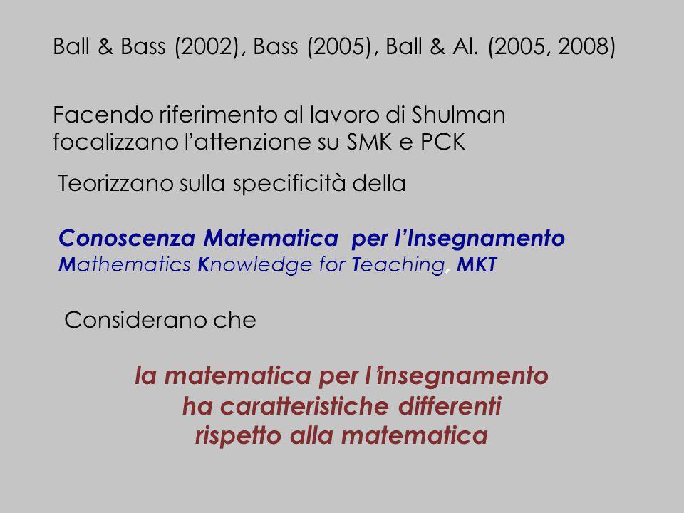 la matematica per l'insegnamento ha caratteristiche differenti