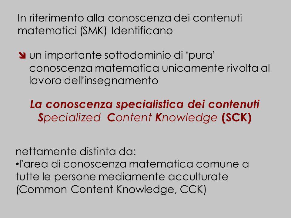 La conoscenza specialistica dei contenuti