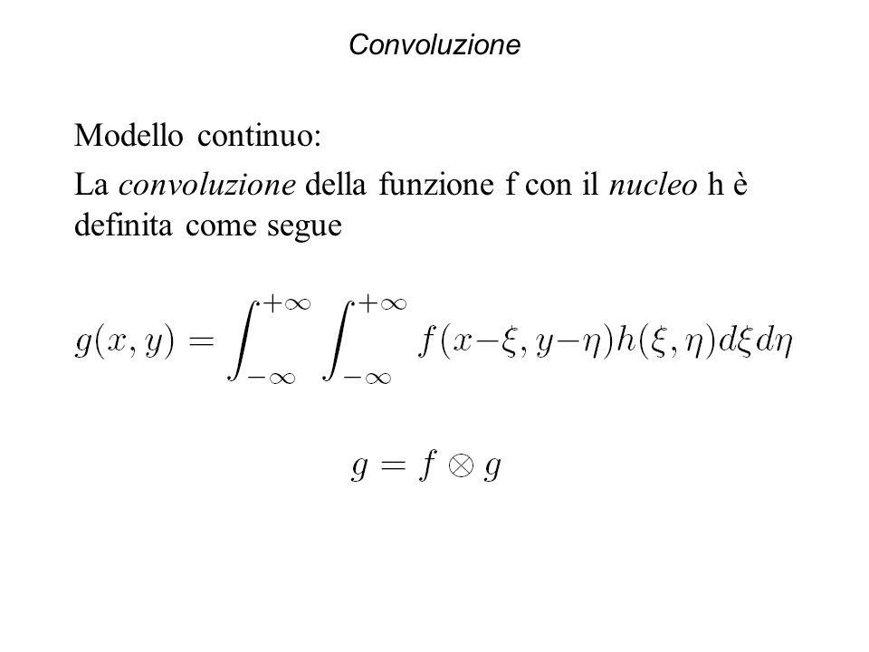 La convoluzione della funzione f con il nucleo h è definita come segue
