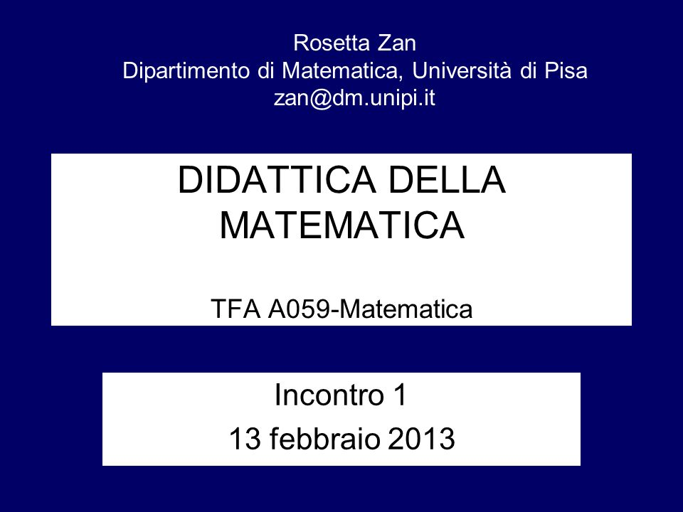 DIDATTICA DELLA MATEMATICA TFA A059-Matematica