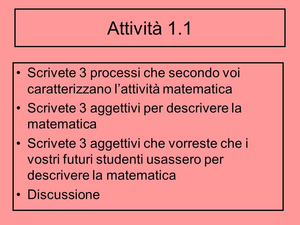 Attività 1.1 Scrivete 3 processi che secondo voi caratterizzano l'attività matematica. Scrivete 3 aggettivi per descrivere la matematica.