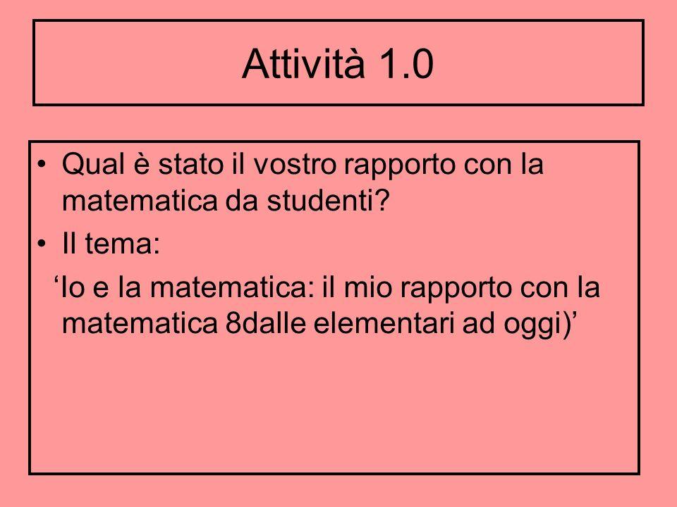 Attività 1.0 Qual è stato il vostro rapporto con la matematica da studenti Il tema: