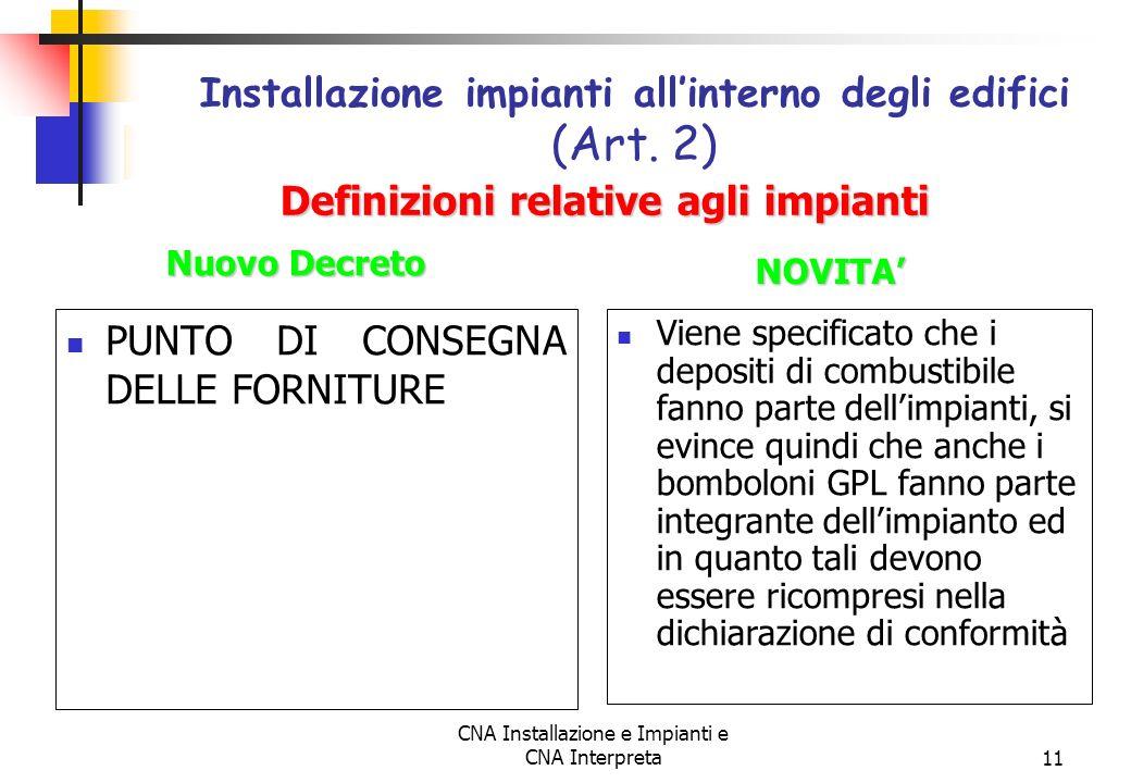 Installazione impianti all'interno degli edifici (Art. 2)