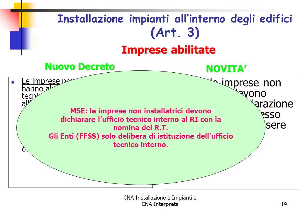 Installazione impianti all'interno degli edifici (Art. 3)
