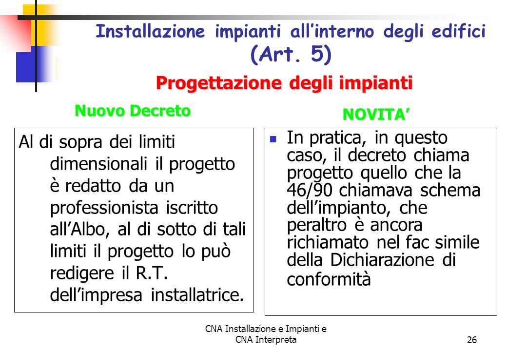 Installazione impianti all'interno degli edifici (Art. 5)