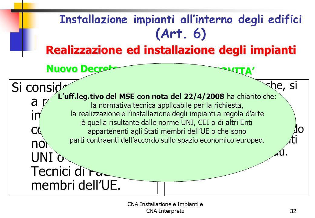 Installazione impianti all'interno degli edifici (Art. 6)
