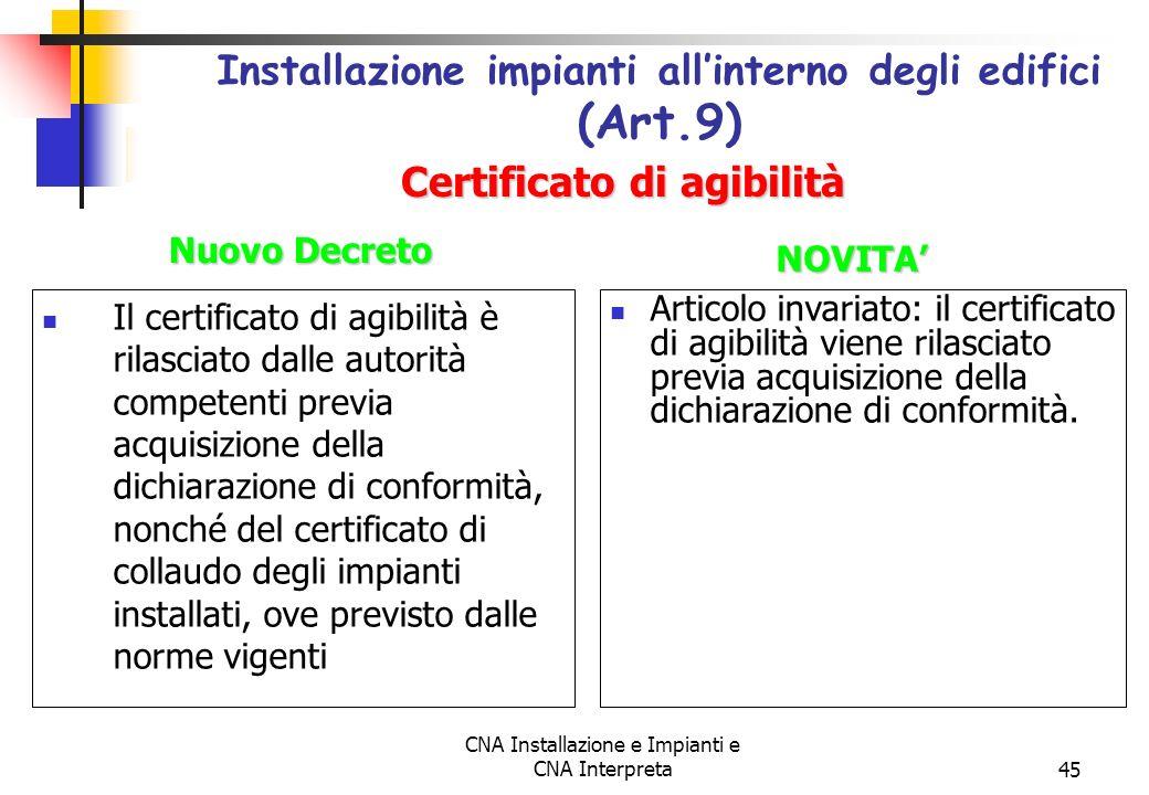 Installazione impianti all'interno degli edifici (Art.9)