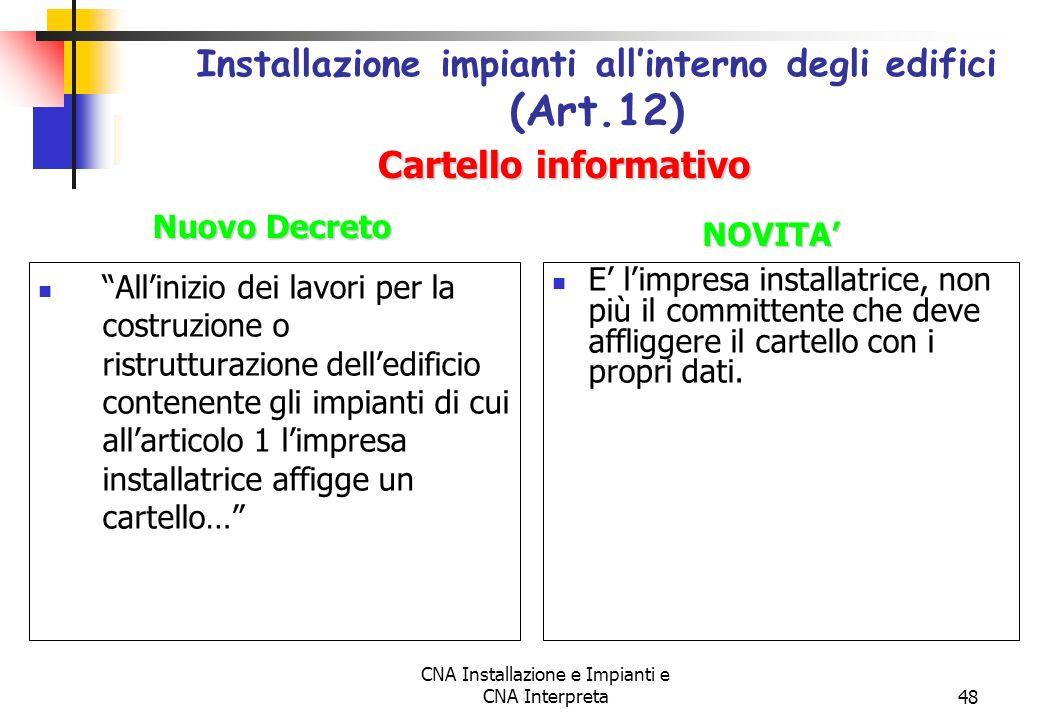 Installazione impianti all'interno degli edifici (Art.12)
