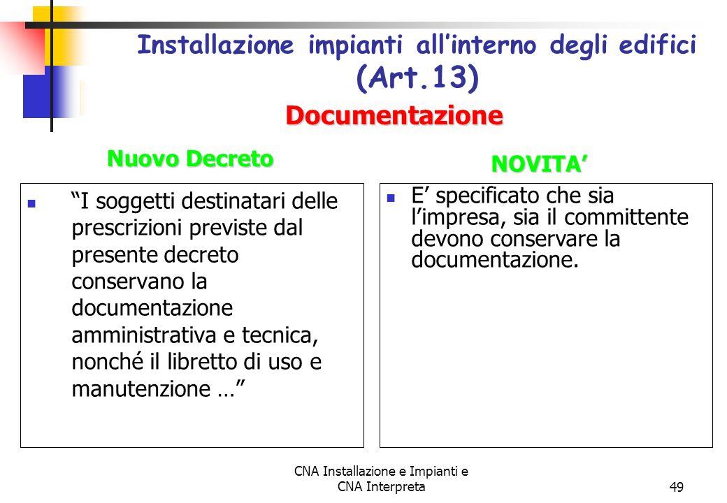 Installazione impianti all'interno degli edifici (Art.13)
