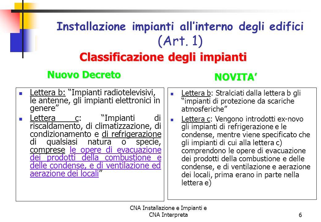 Installazione impianti all'interno degli edifici (Art. 1)
