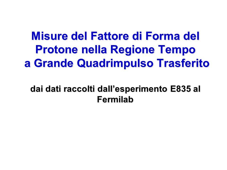 Misure del Fattore di Forma del Protone nella Regione Tempo a Grande Quadrimpulso Trasferito dai dati raccolti dall'esperimento E835 al Fermilab