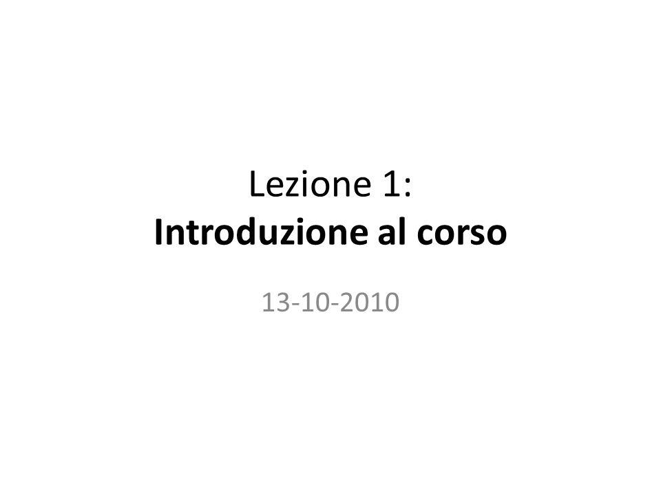 Lezione 1: Introduzione al corso