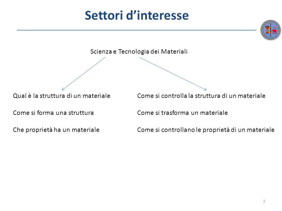 Settori d'interesse Scienza e Tecnologia dei Materiali