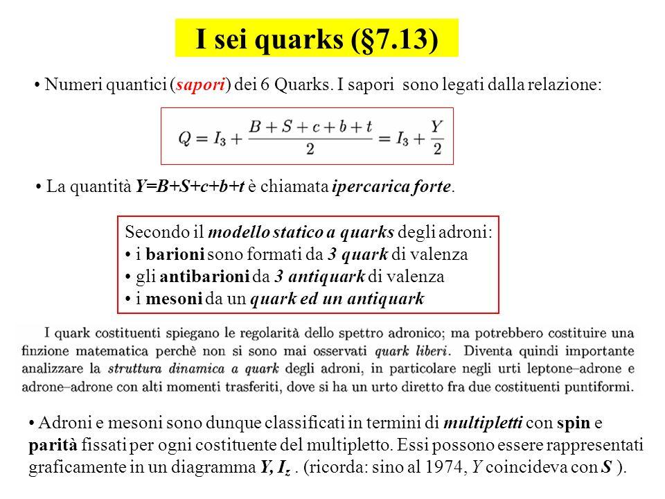 I sei quarks (§7.13) Numeri quantici (sapori) dei 6 Quarks. I sapori sono legati dalla relazione: