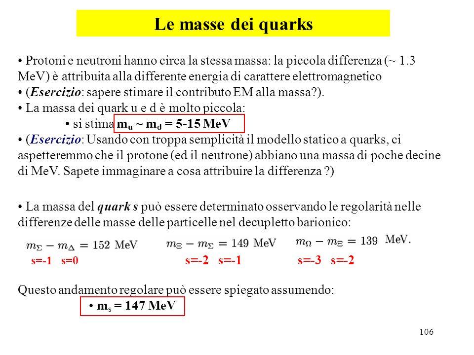 Le masse dei quarks