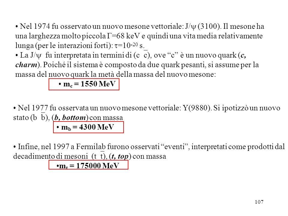 Nel 1974 fu osservato un nuovo mesone vettoriale: J/ (3100)