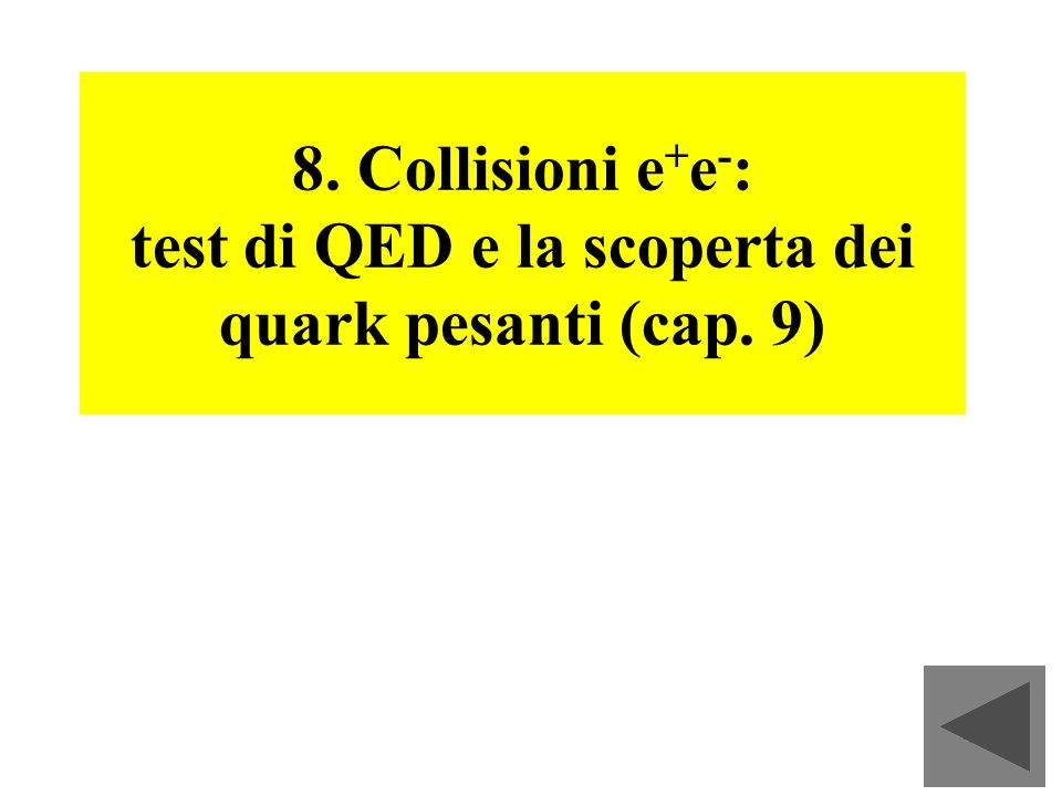 8. Collisioni e+e-: test di QED e la scoperta dei quark pesanti (cap