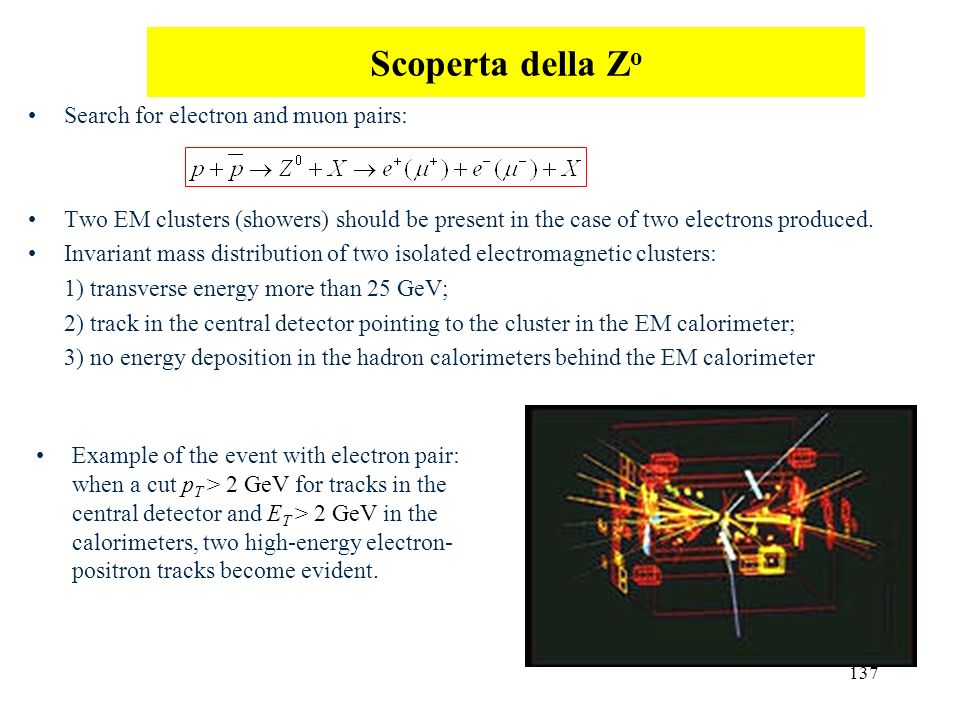 Scoperta della Zo Search for electron and muon pairs: