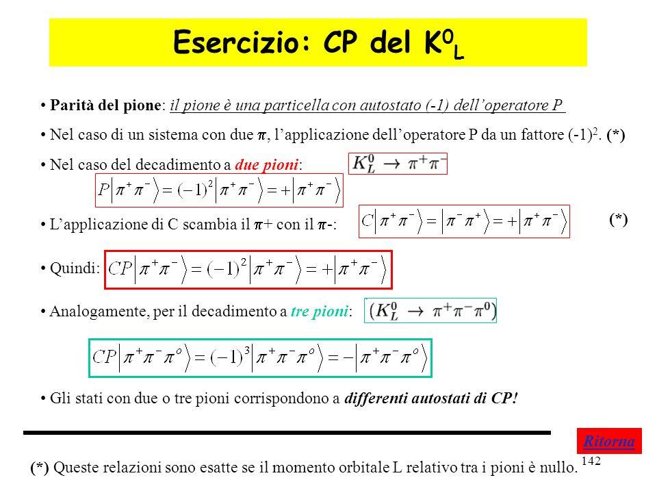 Esercizio: CP del K0L Parità del pione: il pione è una particella con autostato (-1) dell'operatore P.