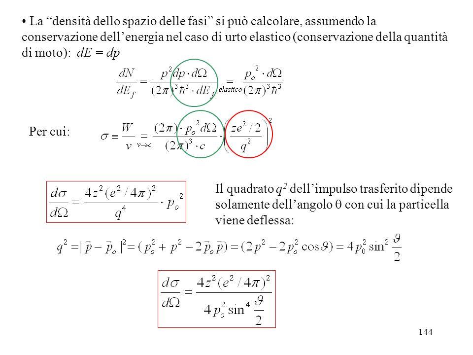 La densità dello spazio delle fasi si può calcolare, assumendo la conservazione dell'energia nel caso di urto elastico (conservazione della quantità di moto): dE = dp