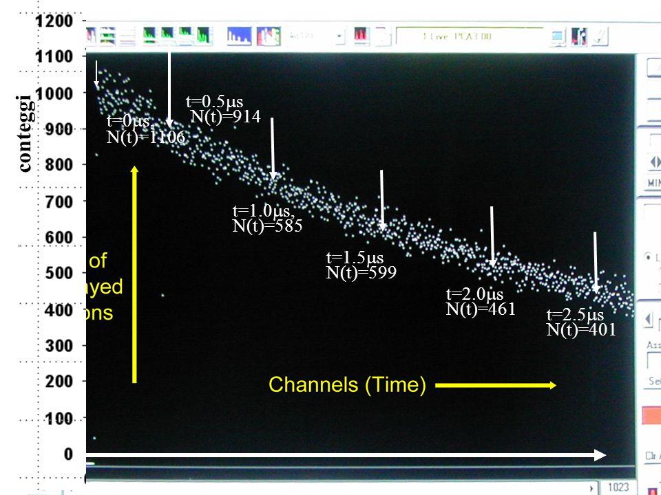 conteggi t=0.5ms N(t)=914 t=0ms, N(t)=1106 t=1.0ms, N(t)=585 t=1.5ms