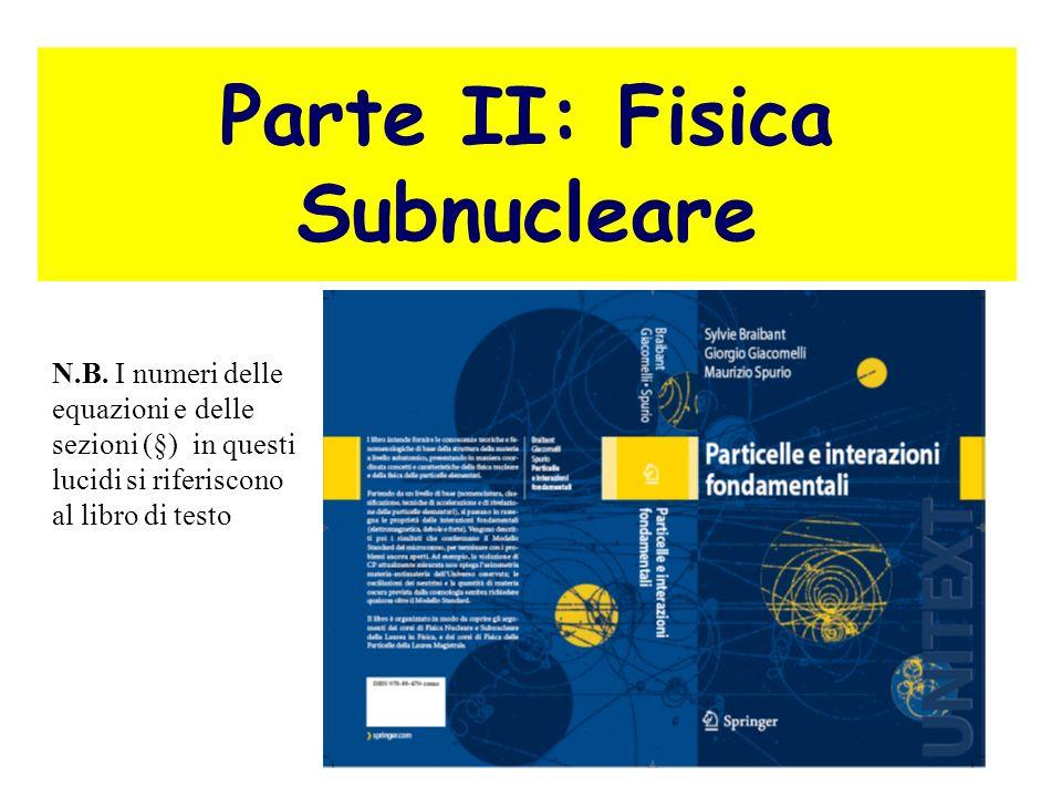 Parte II: Fisica Subnucleare