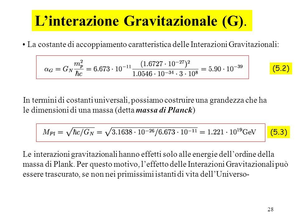 L'interazione Gravitazionale (G).