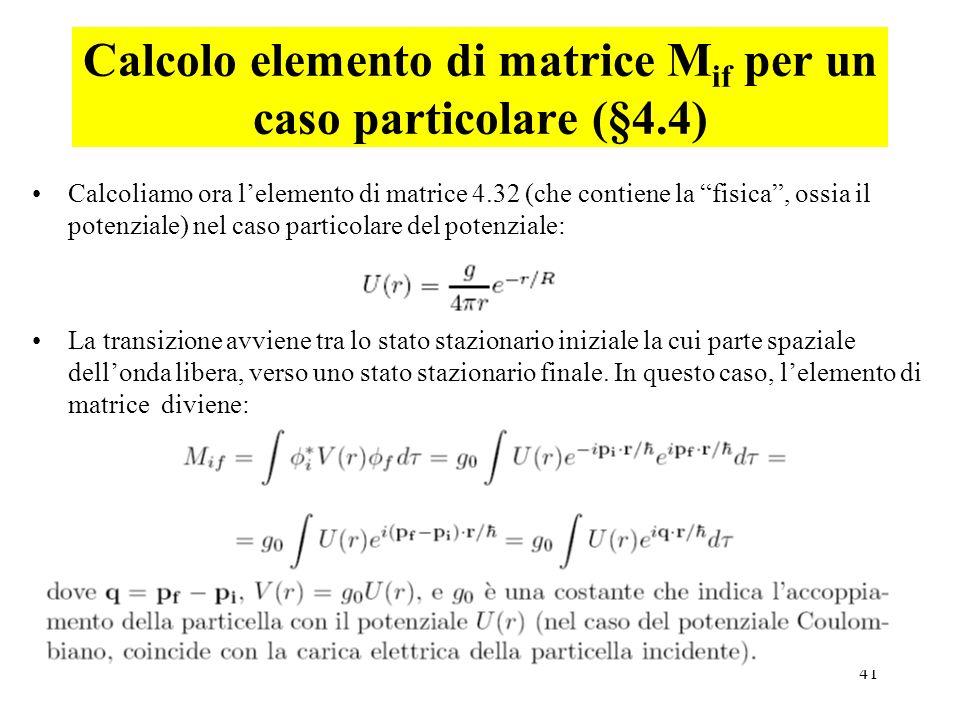 Calcolo elemento di matrice Mif per un caso particolare (§4.4)
