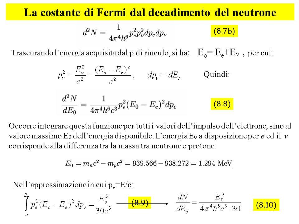 La costante di Fermi dal decadimento del neutrone