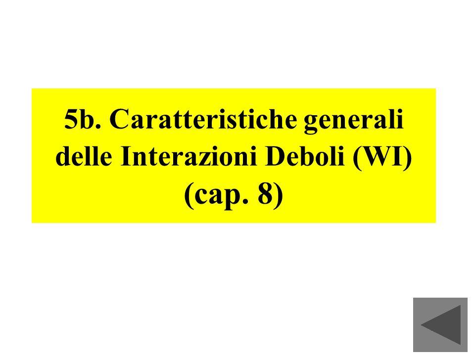 5b. Caratteristiche generali delle Interazioni Deboli (WI) (cap. 8)